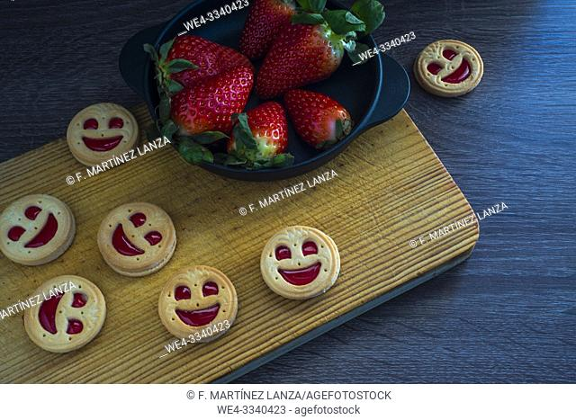 Strawberry cookies in the shape of a face