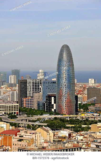 View of the Torre Agbar office tower, Plaça de les Glories Catalanes, Barcelona, Catalonia, Spain, Europe