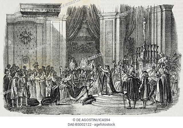 Coronation of Emperor Napoleon I and Coronation of the Empress Josephine in the Notre-Dame de Paris, December 2, 1804, lithograph by Sardi after a drawing from...