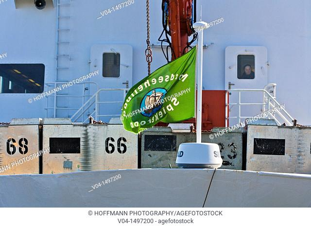 Close up of a ferry loaded with containers, Germany, Europe