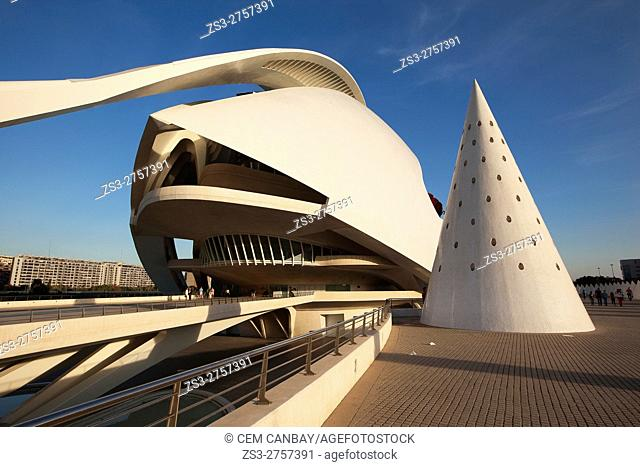 View to the Palau de les Arts, City of Arts and Sciences, Valencia, Spain, Europe