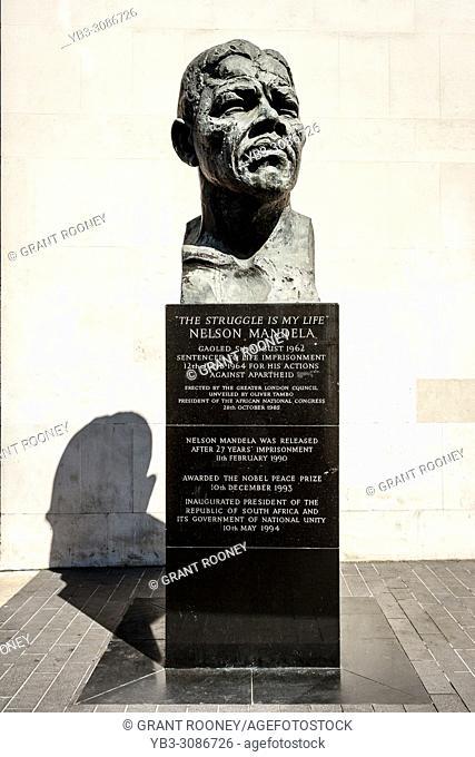 A Bust Of Nelson Mandella Outside The Royal Festival Hall, London, UK