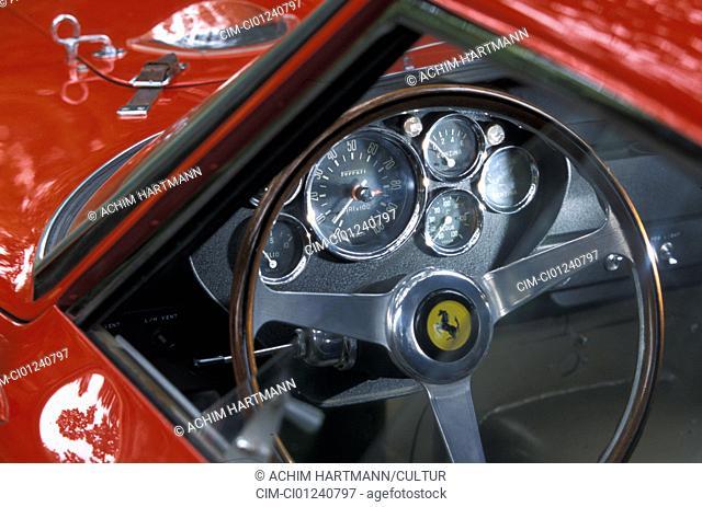 Car, Ferrari 250 GTO, model year 1962-1964, 1960s, sixties, vintage car, sports car, Coupé, Coupe, red, detail, details, interior, Cockpit, technics, technical