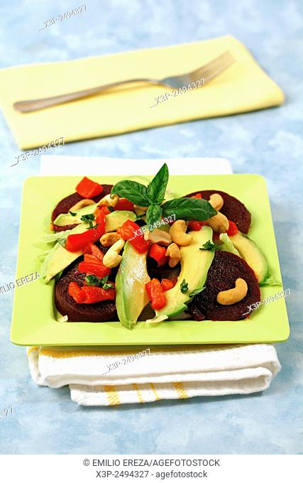 Beetroot salad with avocado and cashew nuts
