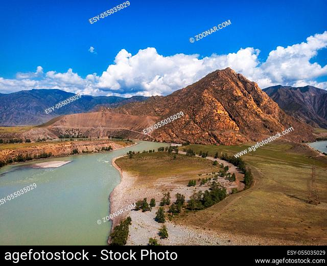 Road in Altai mountains. Chuysky tract in Altai Republic, Siberia, Russia. This road is one of the ten most beautiful roads in the world