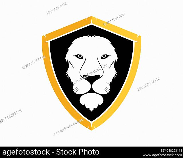 Lion head in the shield protection