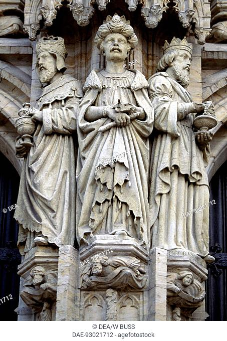 Sculptures from the Brabantine Gothic style, St Michael and St Gudula Cathedral, Brussels. Belgium
