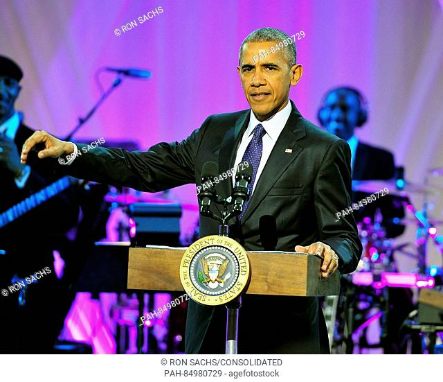 United States President Barack Obama delivers remarks at BET-s -Love and Happiness: A Musical Experience- on the South Lawn of the White House in Washington