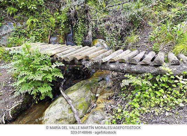 Wooden bridge in the fishermen path. Avila. Spain