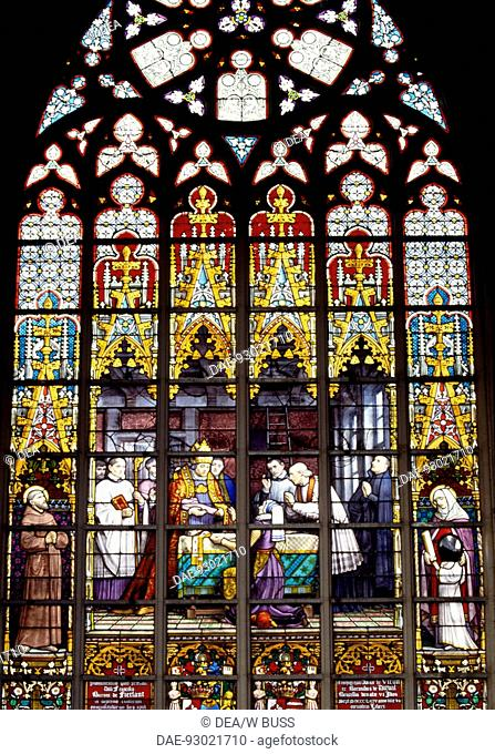 Stained-glass window from the Brabantine Gothic style, St Michael and St Gudula Cathedral, Brussels. Belgium
