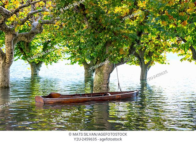 Boat on a flooding alpine lake Maggiore with trees in Ascona, Switzerland