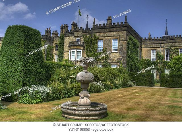 HDR image of the Hall and second candle area at Renishaw Hall and Gardens, Renishaw, Derbyshire, UK