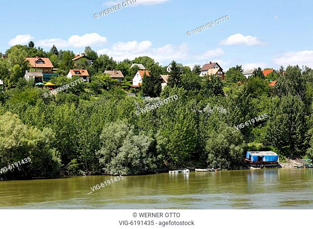 Hungary, Mohacs on the Danube, Transdanubia, Southern Transdanubia, Baranya county, residential buildings on a hill above the Danube, single-family houses