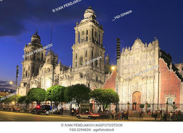 Mexico City Metropolitan Cathedral at Night, Mexico