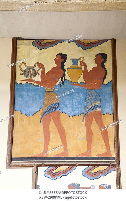 South propylaeum, Procession fresco, Knossos palace archaeological site, Crete island, Greece, Europe