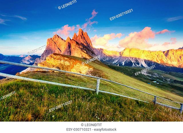 Great view on the Odle - Geisler group. National Park valley Val Gardena. Dolomites, South Tyrol. Location Ortisei, S. Cristina and Selva Gardena, Italy, Europe