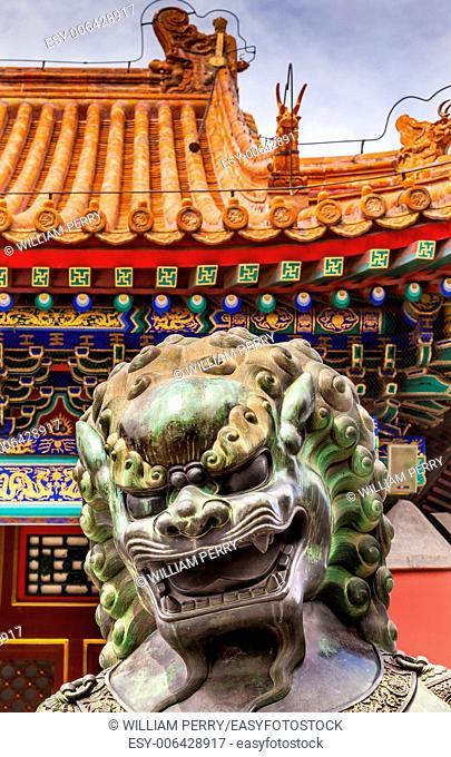 Dragon Bronze Statue Summer Palace Ornate Roof Beijing China