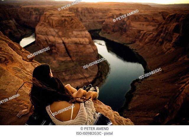Women relaxing and enjoying view, Horseshoe Bend, Page, Arizona, USA