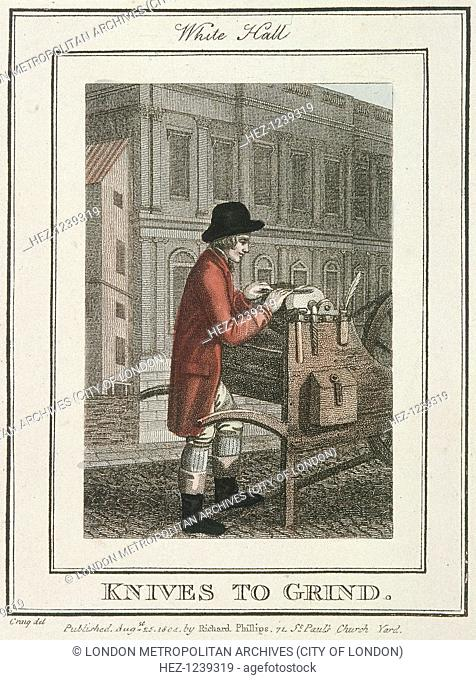 'Knives to Grind'. A knife grinder sharpening a knife on Whitehall. From Cries of London, 1804
