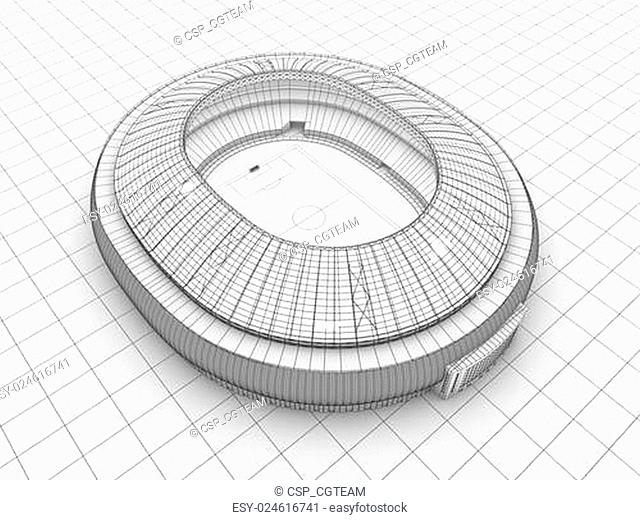 sport arena. 3d illustration in wireframe view
