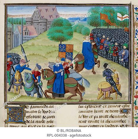 The death of Wat Tyler at Smithfield, London, in 1381 during the Peasants' Revolt. Richard II is depicted twice, riding towards the rebels and back towards the...
