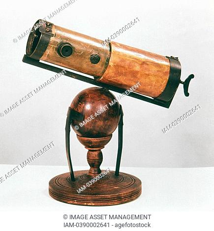 Isaac Newton 1642-1727 English scientist and mathematician  Newton's reflecting telescope  Photograph