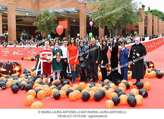 The voices of the cartoon Luciano Spinelli, Virginia Raffaele, Loredana Berte', Pino Insegno, Eleonora Gaggero during the red carpet of cartoon ' La famiglia...