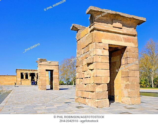 Madrid, Spain. Templo de Debod (Egyptian; 4thC BC: given to Spain 1968 in recognition for help resiting temples during construction of the Aswan Dam)