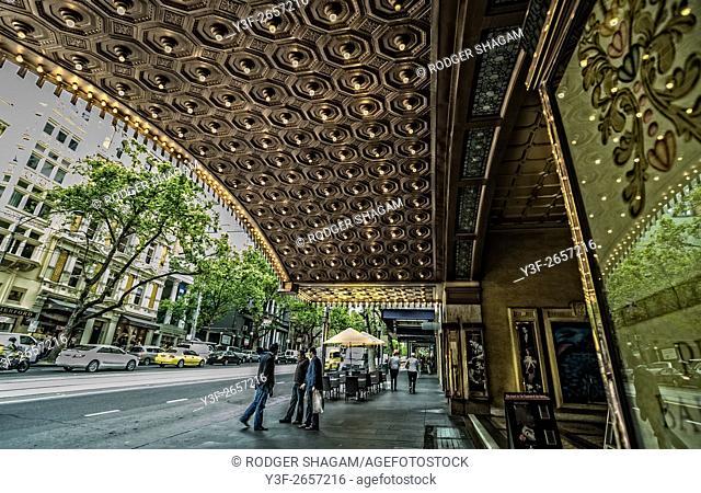 Regent Theatre Canopy overhangs the sidewalk (pavement). Melbourne, Victoria, Australia