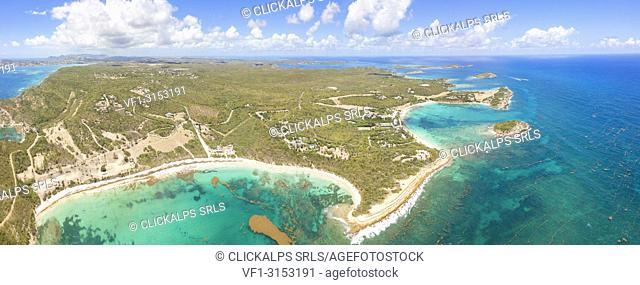 Panoramic elevated view of Half Moon Bay and Exchange Bay, Antigua, Antigua and Barbuda, Caribbean, Leeward Islands, West Indies