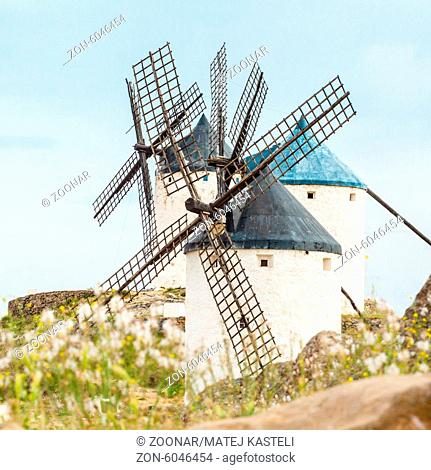 Vintage widnmills in the mainland of La Mancha, Consuegra, Spain