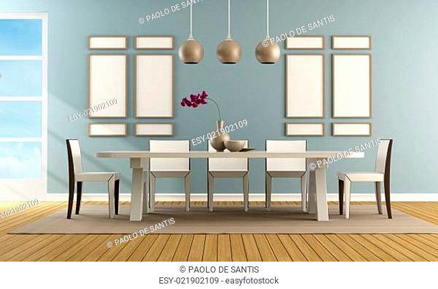 Contemporary blue dining room