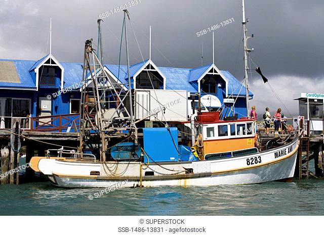 Fishing boat at the Main Wharf, Akaroa, Banks Peninsula, Canterbury, South Island, New Zealand
