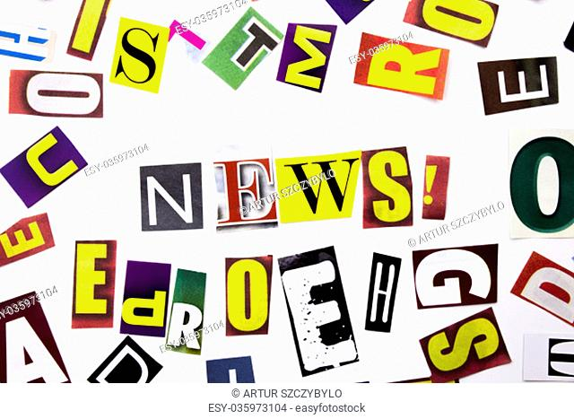 A word writing text showing concept of News made of different magazine newspaper letter for Business case on the white background with space