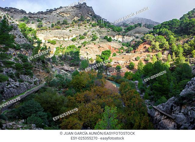 Spectacular landscape of wide areas belong to Gorge of the Gaitanes Malaga, Spain