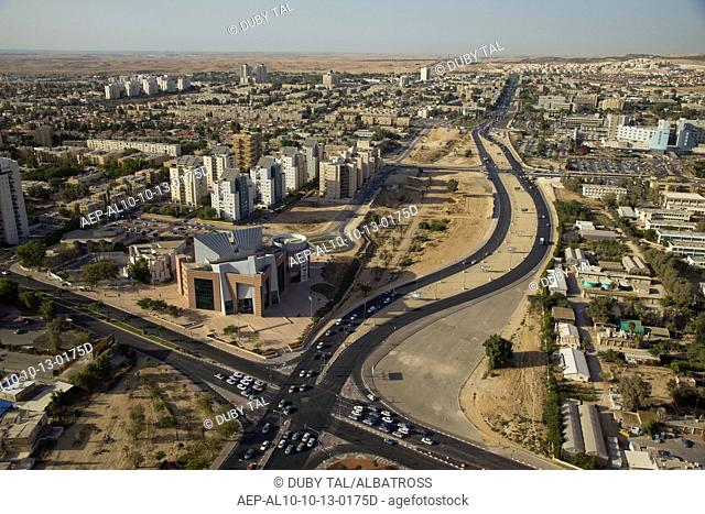 Aerial photo of the city of Beer Sheva including Ben Gurion University, Soroka hospital