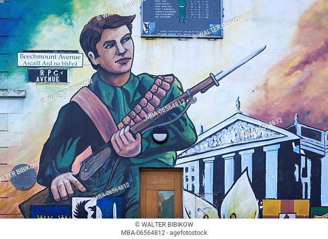 UK, Northern Ireland, Belfast, Falls Road, murals of republican struggle against British rule