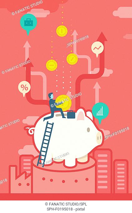 Illustration of businessman inserting coin in piggy bank