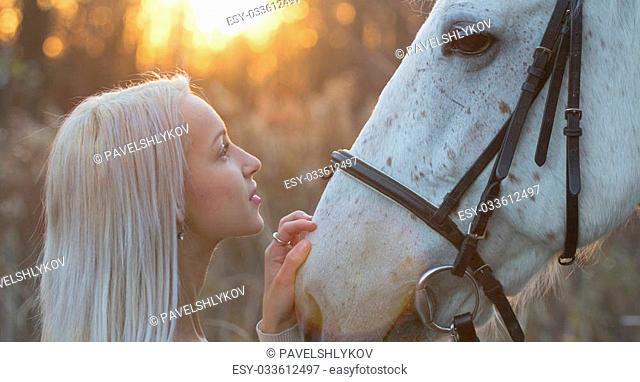 Blonde and white horse looking into each other's eyes on sundown