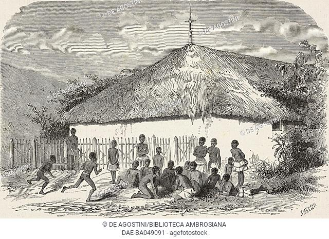 Christian church in Houagap, New Caledonia, illustration by Smeeton from L'Illustration, Journal Universel, No 1524, Volume LIX, May 11, 1872