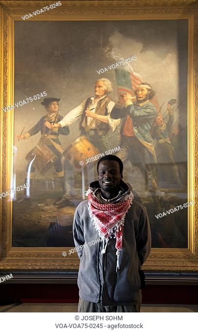 African visits Abbot Hall to see Spirit of 76 Painting by Archibald Willard, Marblehead, Massachusetts, USA