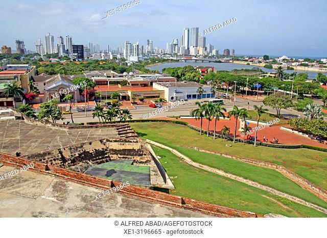 view of Cartagena de Indias from the San Felipe de Barajas castle, Colombia