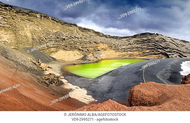 Green Lagoon, Lago de los Clicos. Beach, El Golfo. Lanzarote Island. Canary Islands Spain. Europe