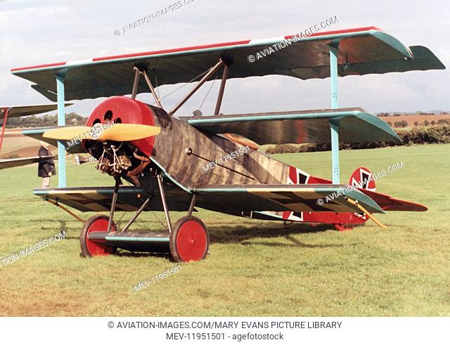 German Airforce Luftwaffe Fokker Dr-1 Triplane Replica Parked on the Grass