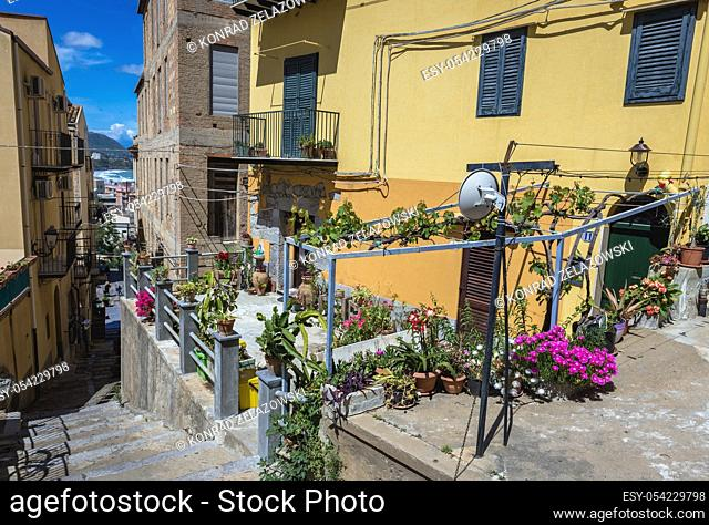 Houses in Cefalu city and comune in Metropolitan City of Palermo, located on the Tyrrhenian coast of Sicily, Italy