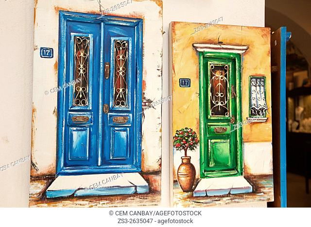 Paintings of old doors at the entrance of a shop, Mykonos, Cyclades Islands, Greek Islands, Greece, Europe