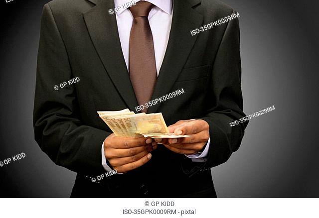 Businessman counting euros