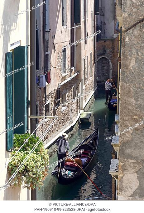 16 June 2019, Italy, Venedig: Gondoliere travel with their boats in a narrow channel between the houses of the city. Photo: Soeren Stache/dpa-Zentralbild/ZB