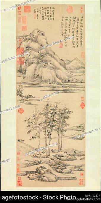 Woods and Valleys of Mount Yu. Artist: Ni Zan (Chinese, 1306-1374); Period: Yuan dynasty (1271-1368); Date: dated 1372; Culture: China; Medium: Hanging scroll;...