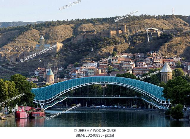 Bridge and cable car over river, Tbilisi, Georgia